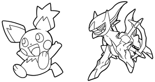 Blank Spiky-eared Pichu and Arceus templates from the Japanese Pokémon TCG website.
