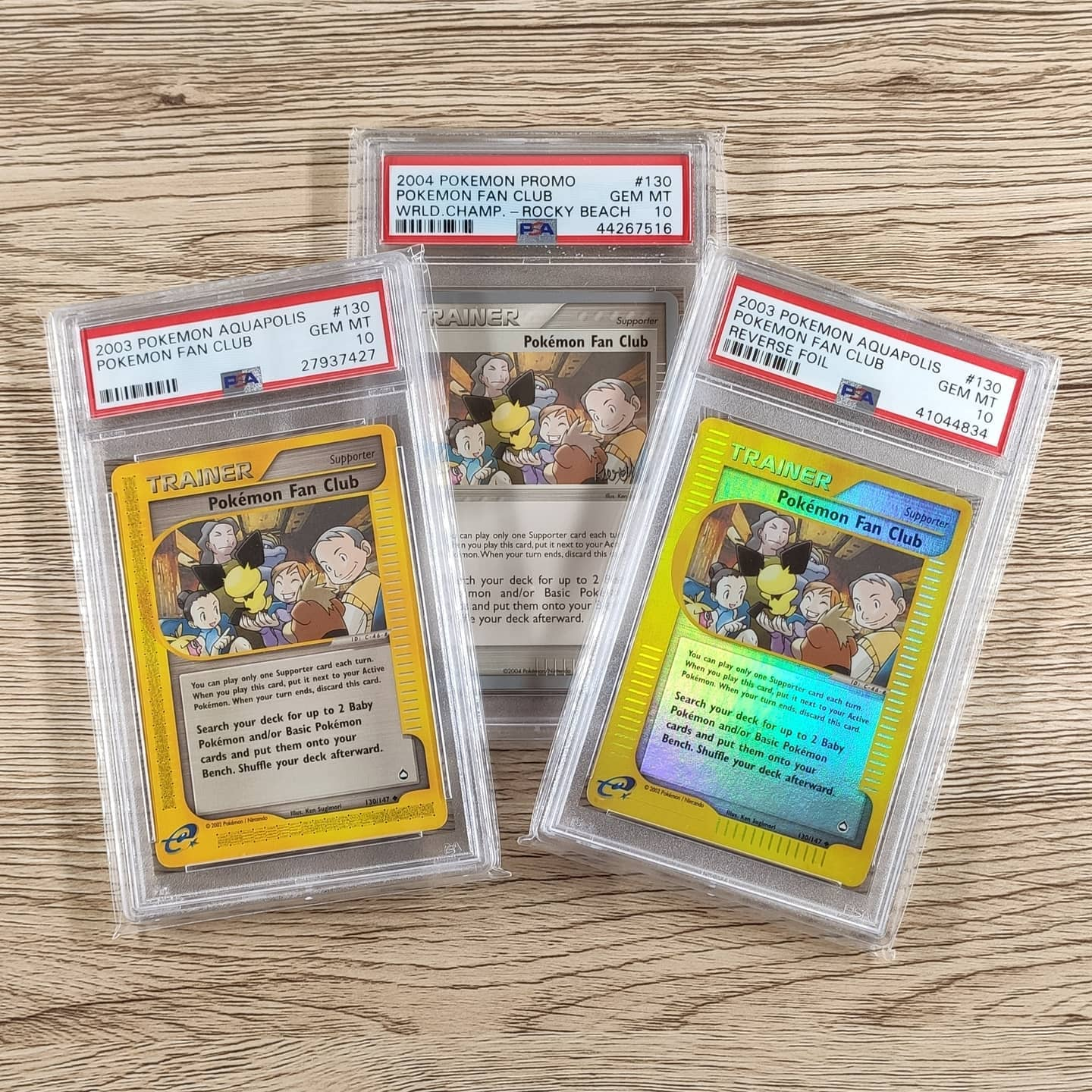 My PSA 10 1st edition and unlimited Japanese Pokémon Fan Club cards (picture from my Instagram feed).